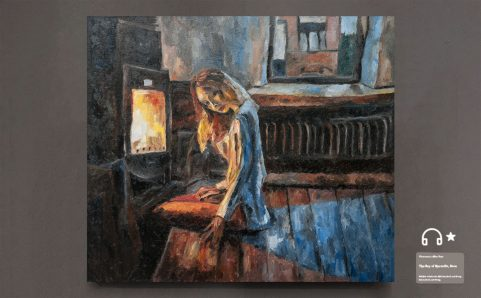 woman sitting in front of the fireplace at home.