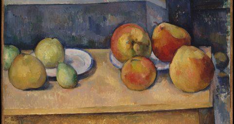 有苹果和梨子的静物画