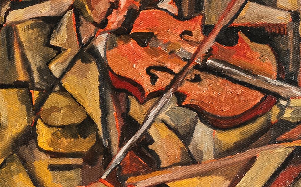 Playing the violin.拉小提琴的人 布面油画