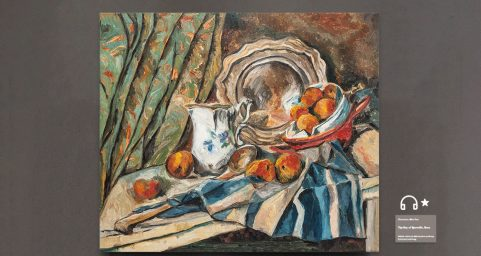 still life with apple basketa milk pot and dish.