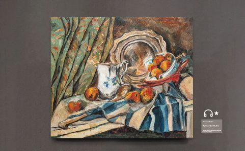 still life with apple basketa milk pot and dish.