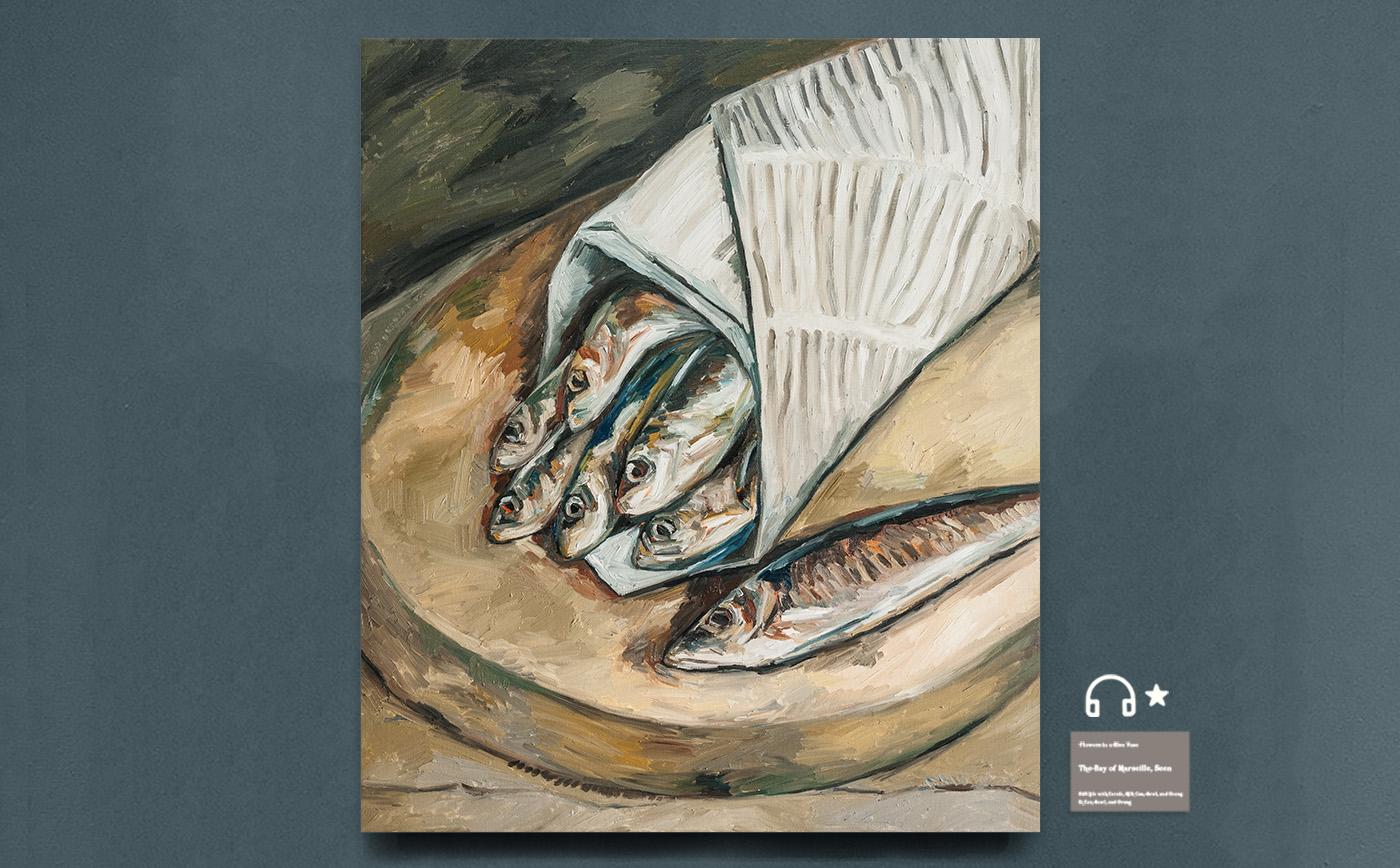 wrapped fish.包纸鱼 布面油画