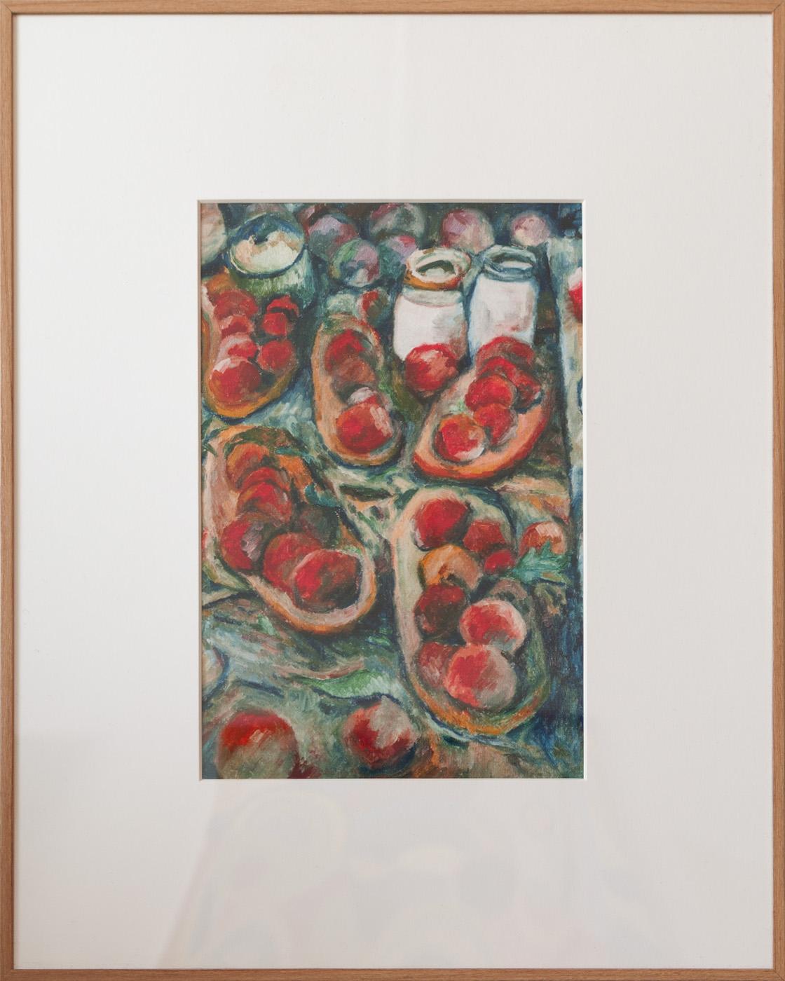 Still Life with Fruit Dish and Apples. 有水果盘和苹果的静物[Digital reproduction 数码再版]