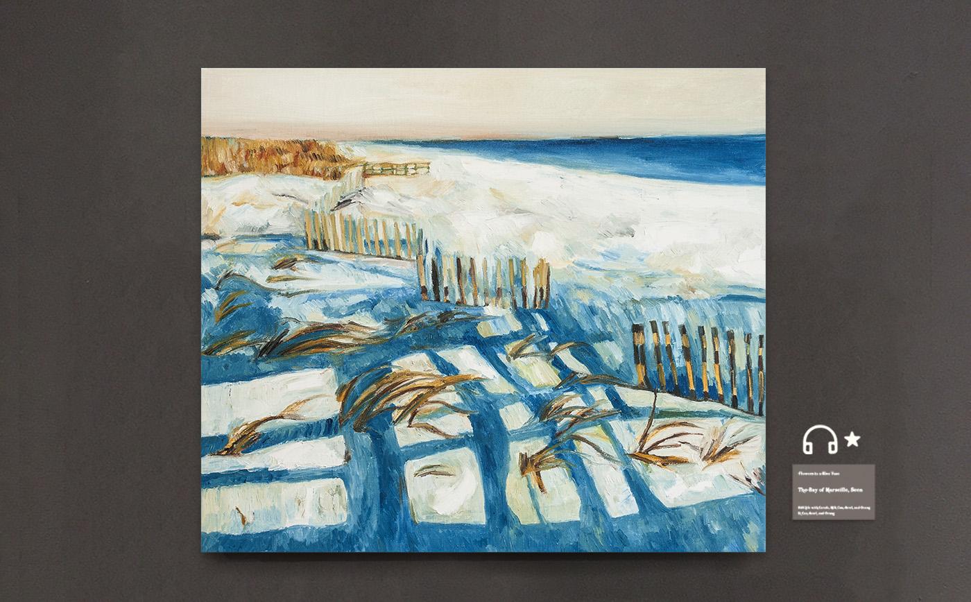 Snow by coast.雪日海岸 布面油画