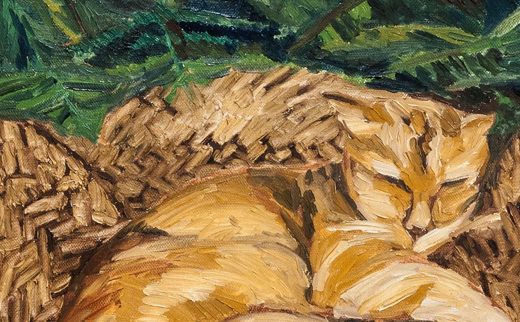 cat, Asleep In garden.花园里的睡猫 布面油画