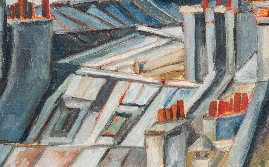 rooftops and chimneys. 屋顶和烟囱 布面油画