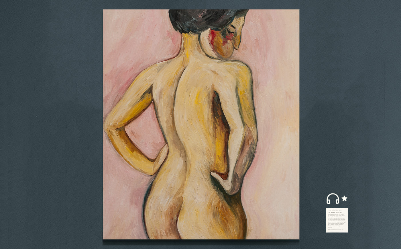 re Weiblicher Akt von rückwärts auf rosa Grund