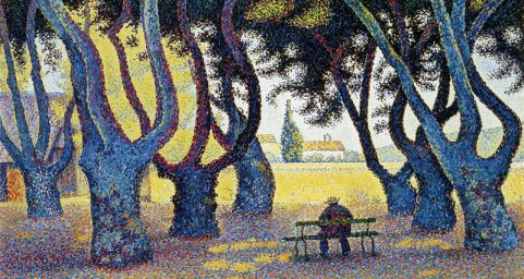Plane Trees, Place des Lices, Saint-Tropez, Opus 242. by Paul Signac