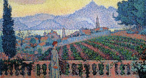 The Terrace, Saint-Tropez. by Paul Signac