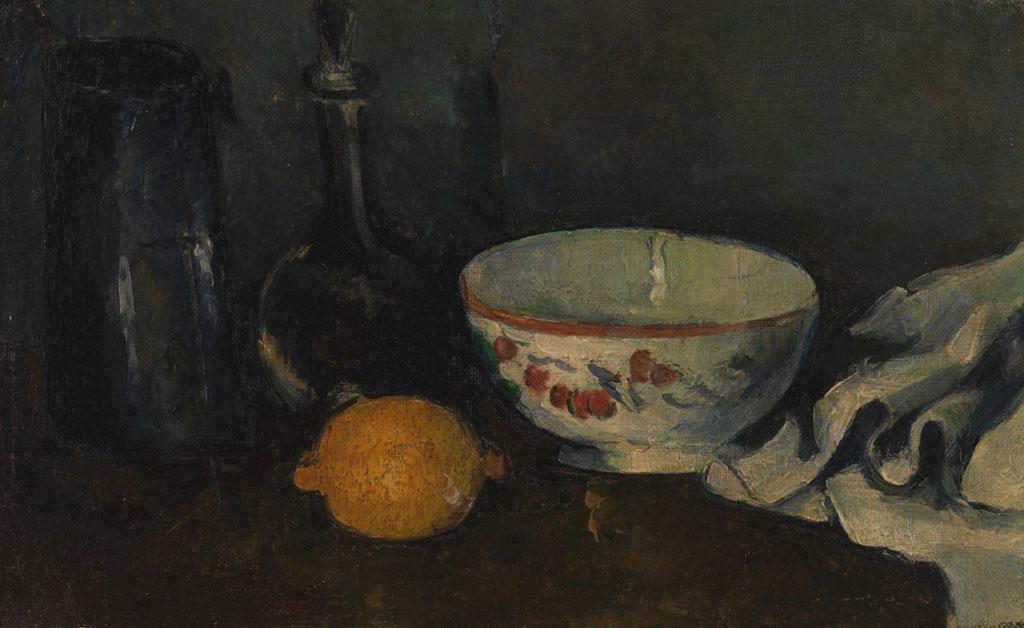 有柠檬的静物油画