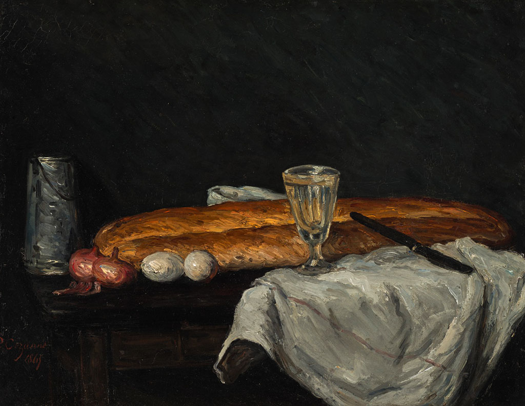 有面包和鸡蛋的静物画