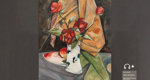 re Still Life with honey peaches and roses.