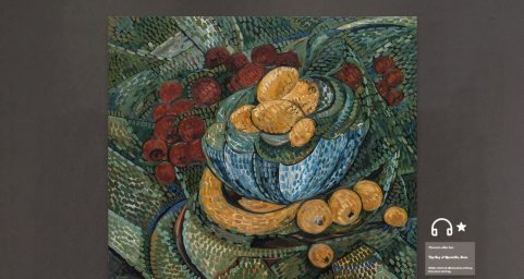 still life with fruit dish.